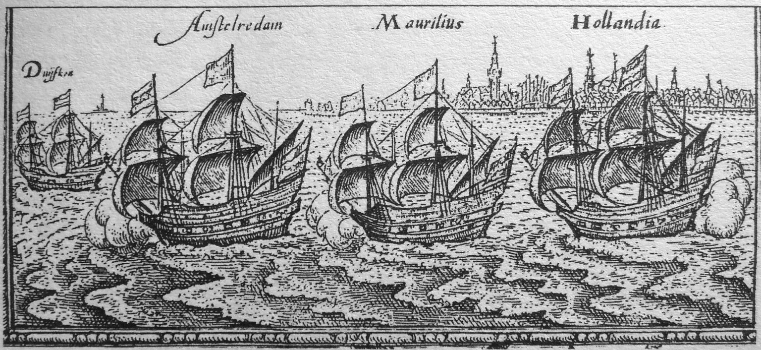 "The ""Bali fleet"" of Cornelis de Houtman, leaving Amsterdam."
