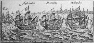 "The ""Bali fleet"" of Cornelis de Houtman, leaving Amsterdam."